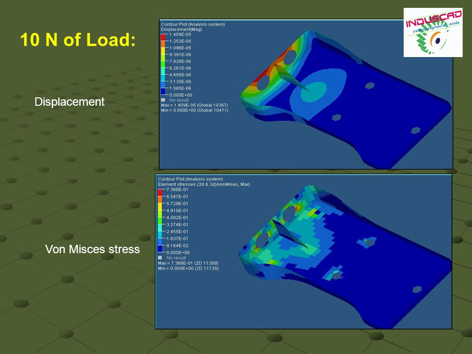10 N of Load: Displacement Von Misces stress