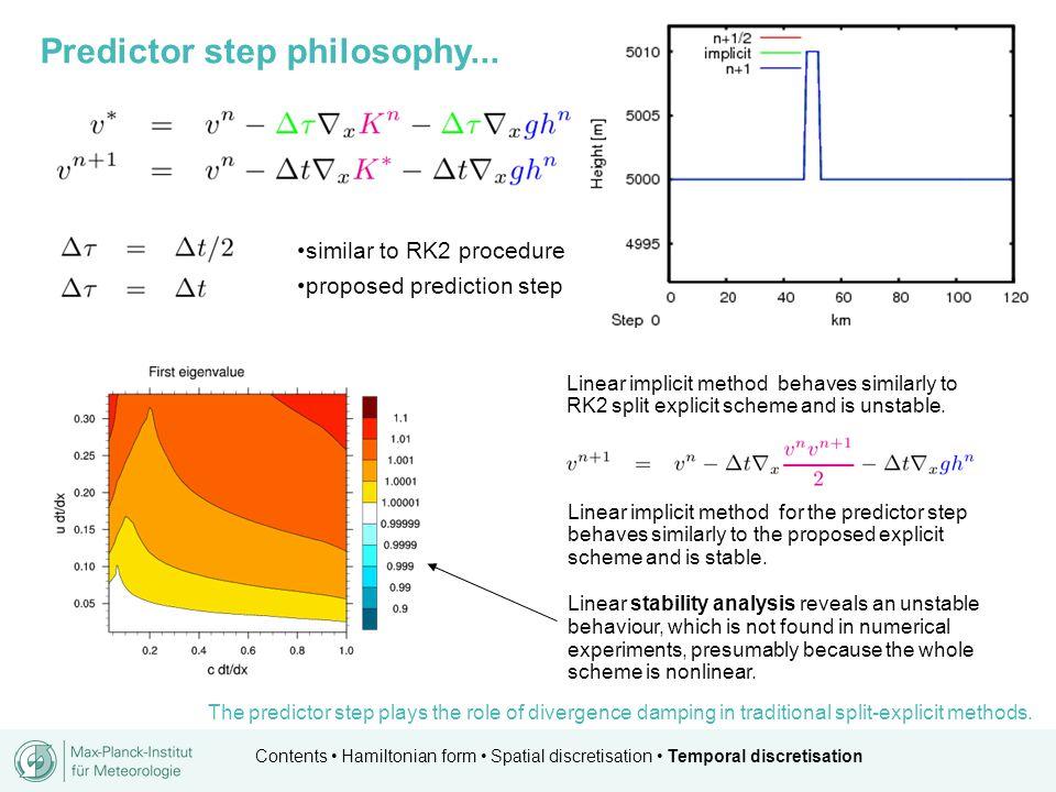 Contents Hamiltonian form Spatial discretisation Temporal discretisation similar to RK2 procedure proposed prediction step Predictor step philosophy..