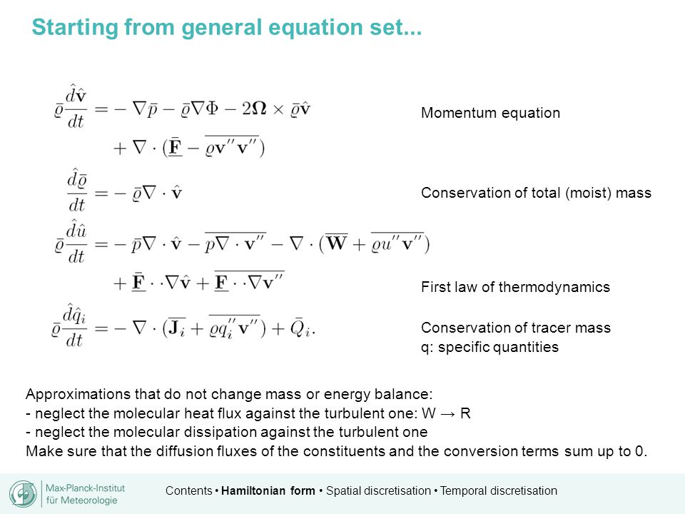 Contents Hamiltonian form Spatial discretisation Temporal discretisation Well balancing...