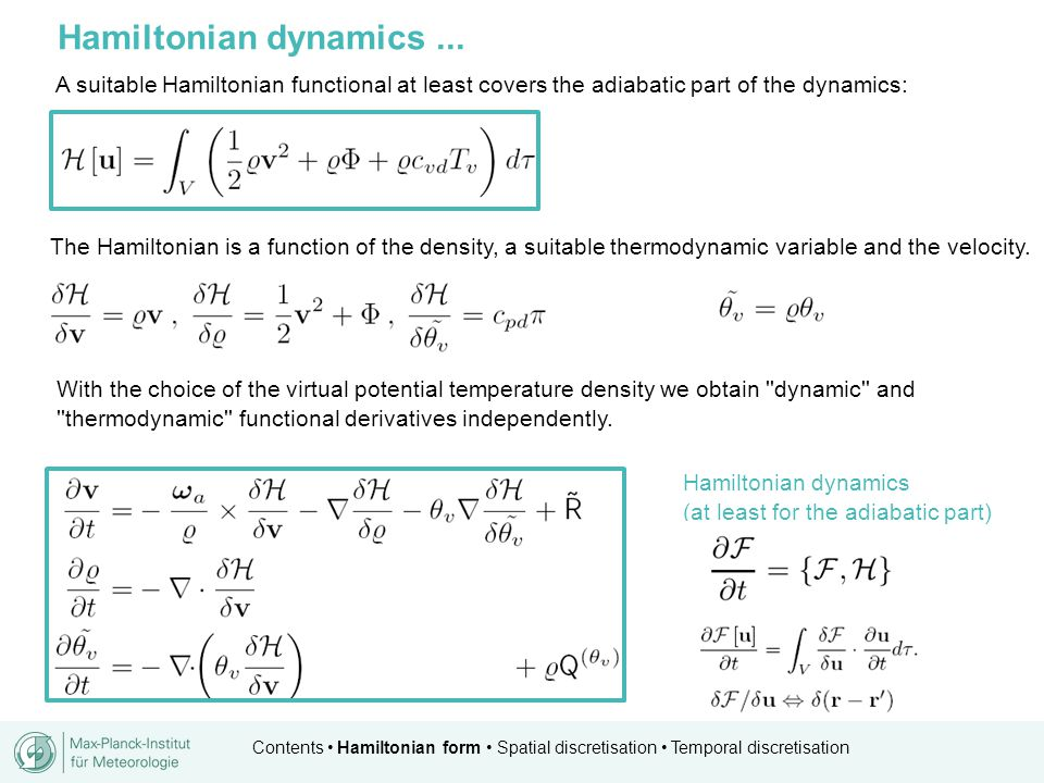 Contents Hamiltonian form Spatial discretisation Temporal discretisation similar to RK2 procedure proposed prediction step Predictor step philosophy...