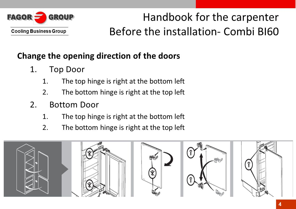 Cooling Business Group 4 Handbook for the carpenter Before the installation- Combi BI60 Change the opening direction of the doors 1.Top Door 1.The top hinge is right at the bottom left 2.The bottom hinge is right at the top left 2.Bottom Door 1.The top hinge is right at the bottom left 2.The bottom hinge is right at the top left