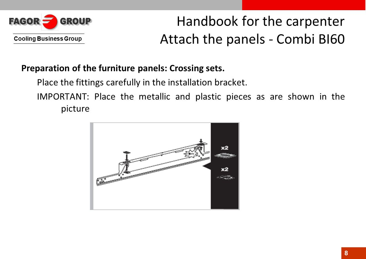 Cooling Business Group 8 Handbook for the carpenter Attach the panels - Combi BI60 Preparation of the furniture panels: Crossing sets.