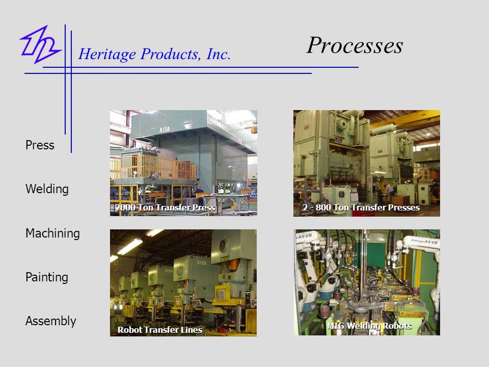 Processes Press Welding Machining Painting Assembly 2000 Ton Transfer Press 2 - 800 Ton Transfer Presses Robot Transfer Lines Robot Transfer Lines MIG