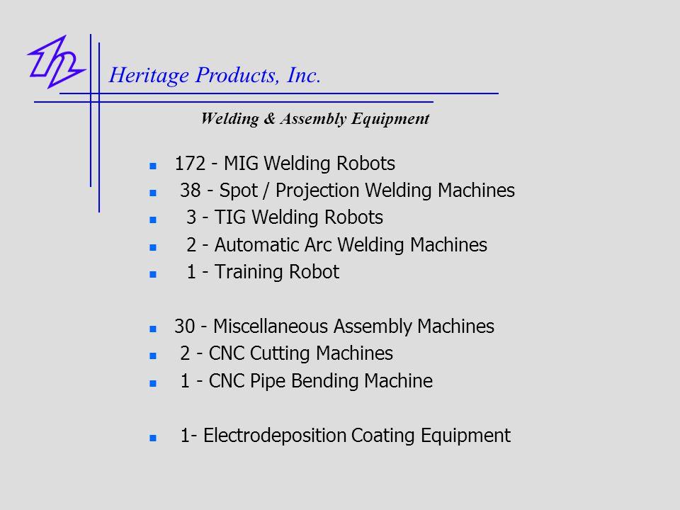 Welding & Assembly Equipment 172 - MIG Welding Robots 38 - Spot / Projection Welding Machines 3 - TIG Welding Robots 2 - Automatic Arc Welding Machine