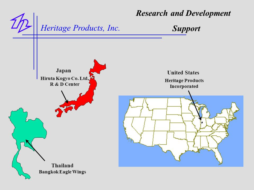 Hiruta Kogyo Co. Ltd, R & D Center Thailand Bangkok Eagle Wings Japan United States Heritage Products Incorporated Research and Development Support He
