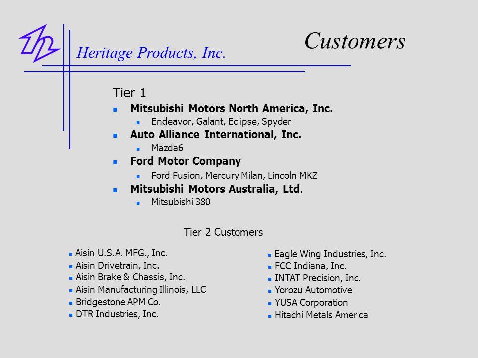 Customers Tier 1 Mitsubishi Motors North America, Inc. Endeavor, Galant, Eclipse, Spyder Auto Alliance International, Inc. Mazda6 Ford Motor Company F