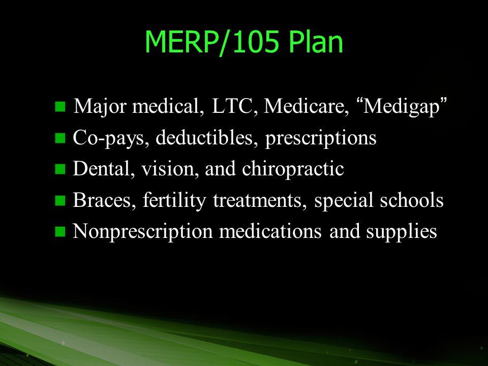 """MERP/105 Plan Major medical, LTC, Medicare, """"Medigap"""" Major medical, LTC, Medicare, """"Medigap"""" Co-pays, deductibles, prescriptions Co-pays, deductibles"""