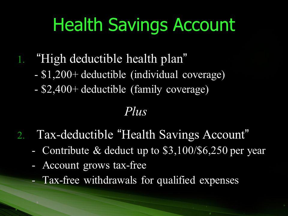 "Health Savings Account 1. ""High deductible health plan"" - $1,200+ deductible (individual coverage) - $1,200+ deductible (individual coverage) - $2,400"