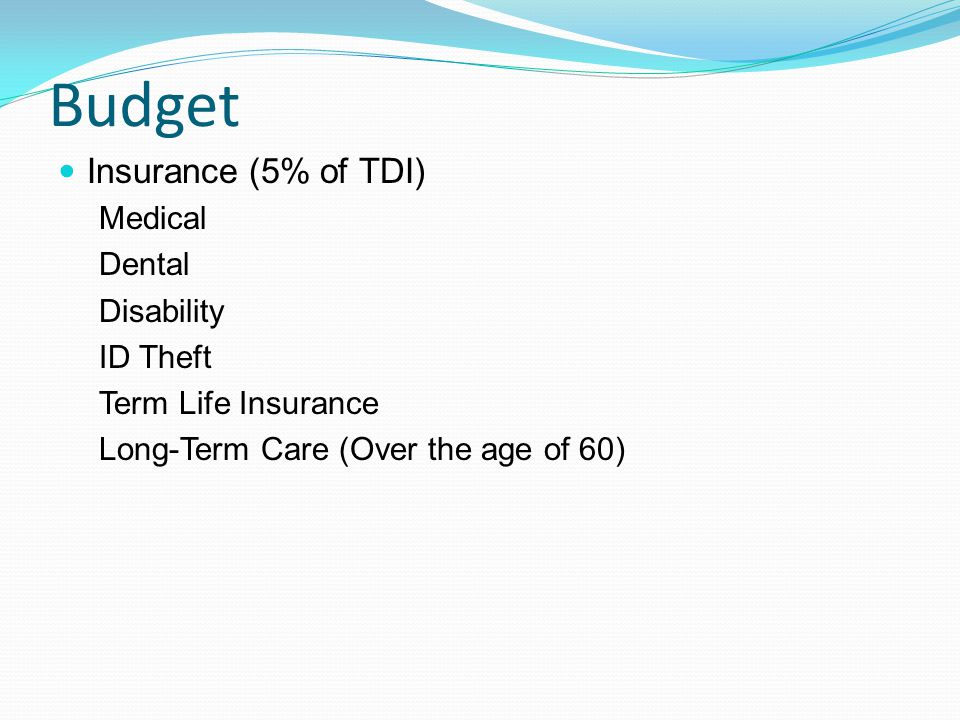 Budget Insurance (5% of TDI) Medical Dental Disability ID Theft Term Life Insurance Long-Term Care (Over the age of 60)