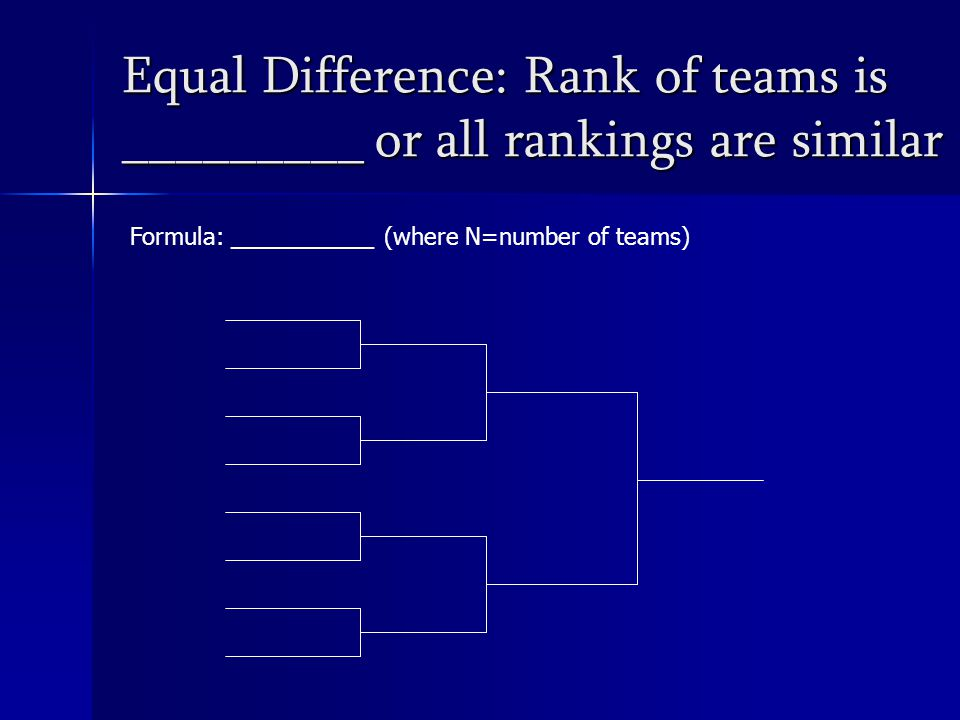 Equal Difference: Rank of teams is _________ or all rankings are similar Formula: ___________ (where N=number of teams)