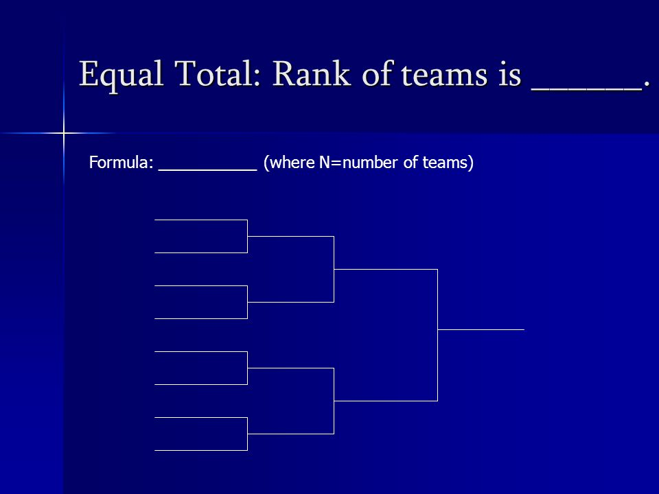 Equal Total: Rank of teams is ______. Formula: ___________ (where N=number of teams)