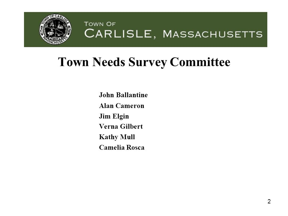 2 Town Needs Survey Committee John Ballantine Alan Cameron Jim Elgin Verna Gilbert Kathy Mull Camelia Rosca