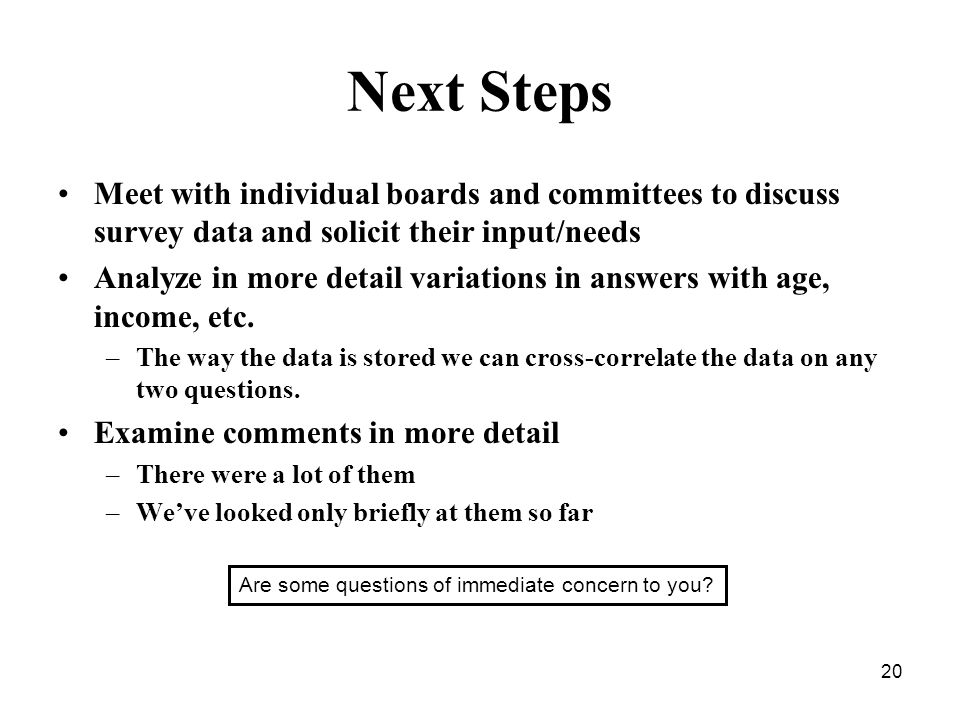 20 Next Steps Meet with individual boards and committees to discuss survey data and solicit their input/needs Analyze in more detail variations in answers with age, income, etc.