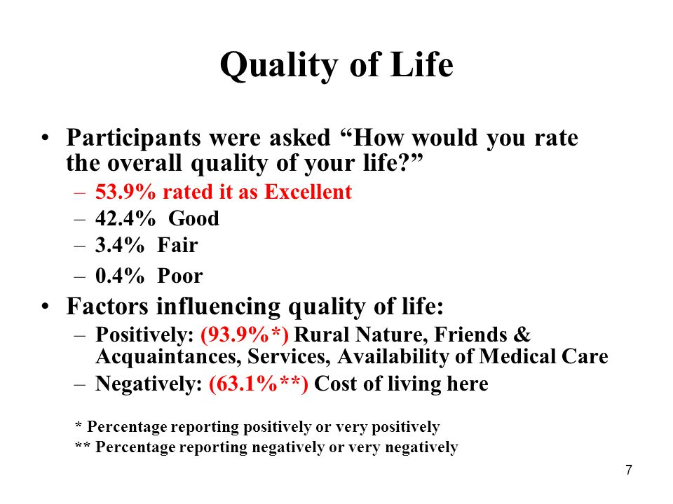 7 Quality of Life Participants were asked How would you rate the overall quality of your life? –53.9% rated it as Excellent –42.4% Good –3.4% Fair –0.4% Poor Factors influencing quality of life: –Positively: (93.9%*) Rural Nature, Friends & Acquaintances, Services, Availability of Medical Care –Negatively: (63.1%**) Cost of living here * Percentage reporting positively or very positively ** Percentage reporting negatively or very negatively
