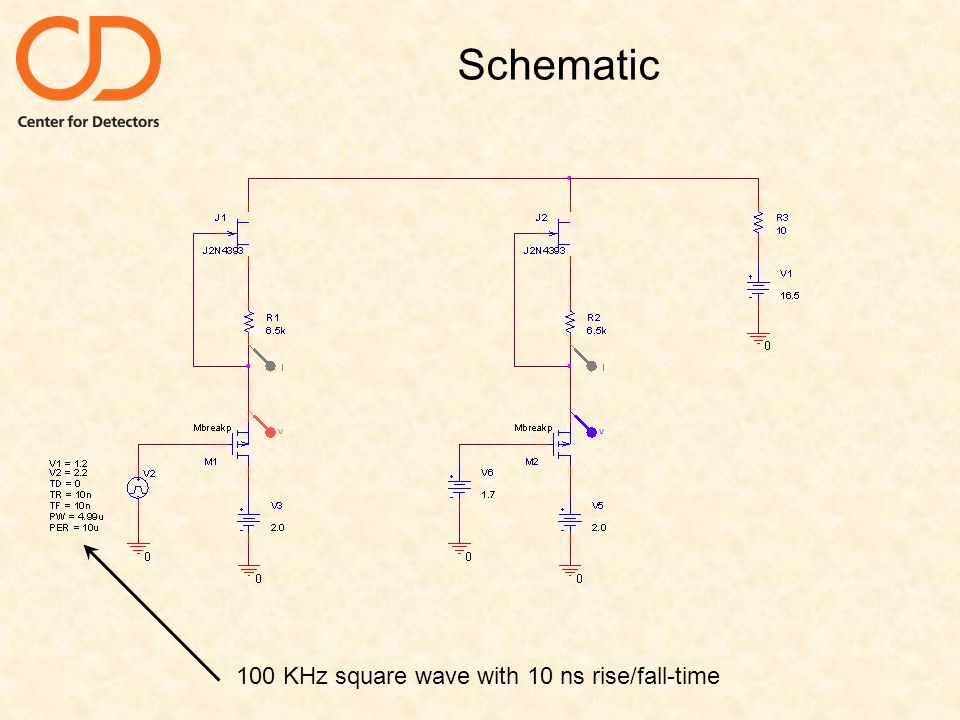 Schematic 100 KHz square wave with 10 ns rise/fall-time