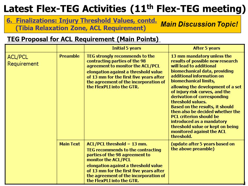 8 Latest Flex-TEG Activities (11 th Flex-TEG meeting) 6.