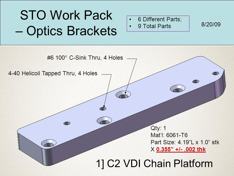 "1] C2 VDI Chain Platform Qty: 1 Mat'l: 6061-T6 Part Size: 4.19""L x 1.0"" stk X 0.355"" +/-.002 thk 4-40 Helicoil Tapped Thru, 4 Holes #6 100° C-Sink Thr"
