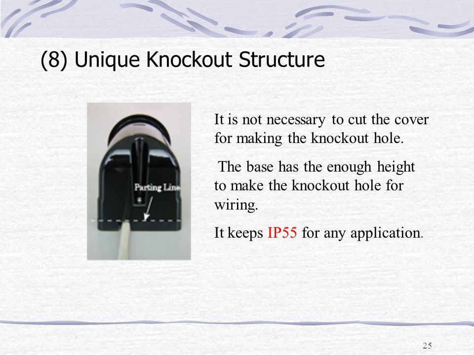 25 (8) Unique Knockout Structure It is not necessary to cut the cover for making the knockout hole.
