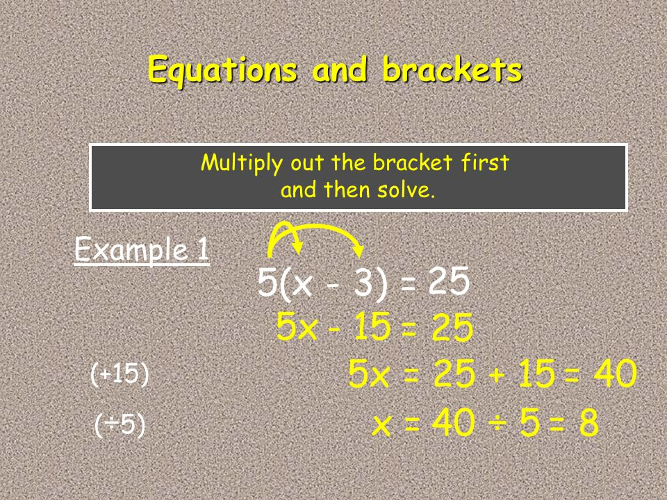 5(x - 3) = 25 5x Example 1 - 15 = 25 Multiply out the bracket first and then solve. Equations and brackets 5x = 25 + 15 x = 40 ÷ 5 = 40 = 8 (+15) ( ÷