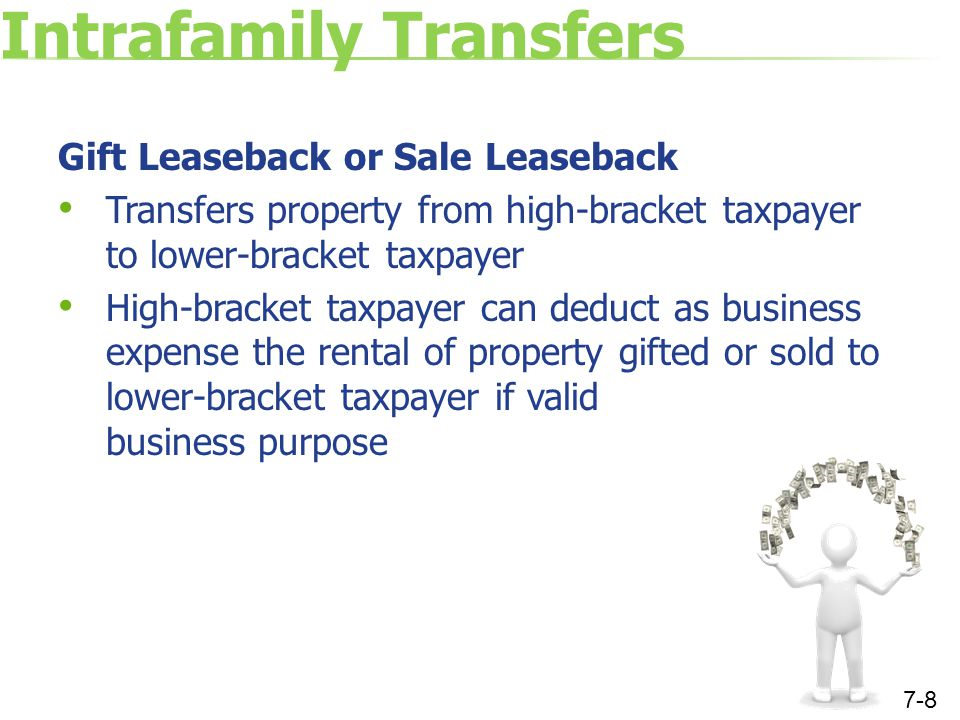 Intrafamily Transfers Gift Leaseback or Sale Leaseback Transfers property from high-bracket taxpayer to lower-bracket taxpayer High-bracket taxpayer can deduct as business expense the rental of property gifted or sold to lower-bracket taxpayer if valid business purpose 7-8