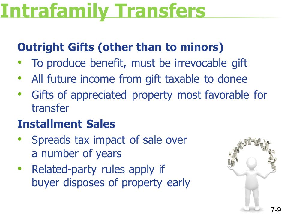Intrafamily Transfers Outright Gifts (other than to minors) To produce benefit, must be irrevocable gift All future income from gift taxable to donee Gifts of appreciated property most favorable for transfer Installment Sales Spreads tax impact of sale over a number of years Related-party rules apply if buyer disposes of property early 7-9