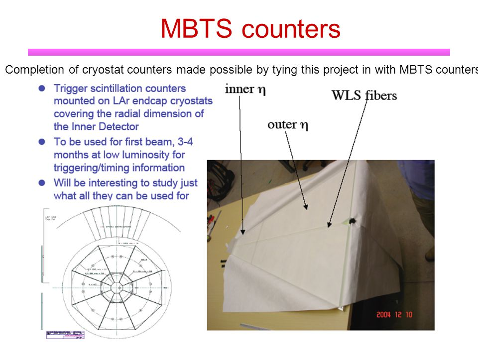 MBTS counters Completion of cryostat counters made possible by tying this project in with MBTS counters