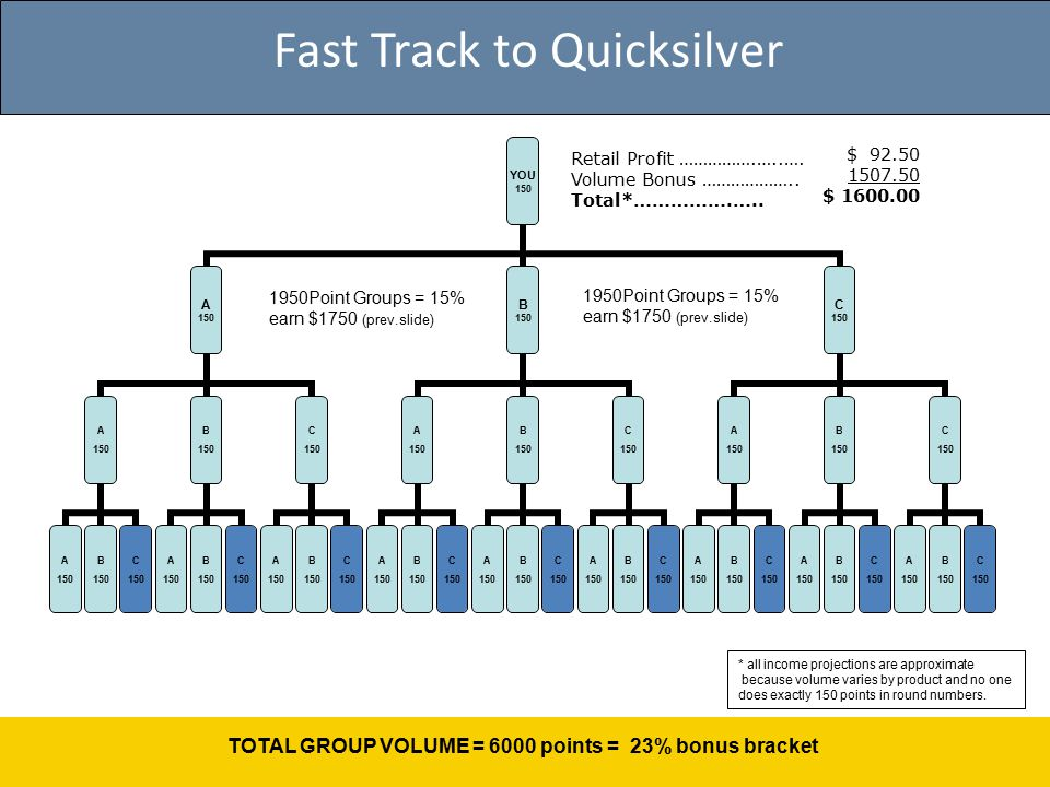Fast Track to Quicksilver 1950Point Groups = 15% earn $1750 (prev.slide) TOTAL GROUP VOLUME = 6000 points = 23% bonus bracket Retail Profit …………….…..….