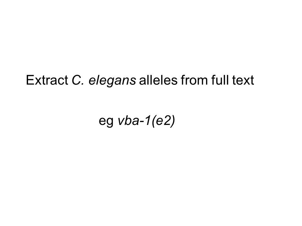 Extract C. elegans alleles from full text eg vba-1(e2)
