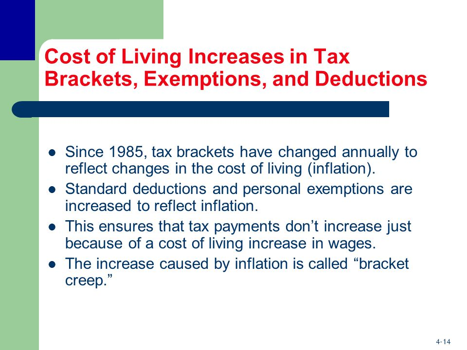 4-14 Cost of Living Increases in Tax Brackets, Exemptions, and Deductions Since 1985, tax brackets have changed annually to reflect changes in the cost of living (inflation).