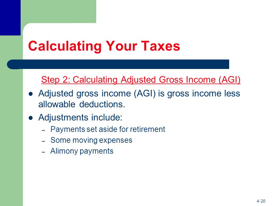 4-20 Calculating Your Taxes Step 2: Calculating Adjusted Gross Income (AGI) Adjusted gross income (AGI) is gross income less allowable deductions.