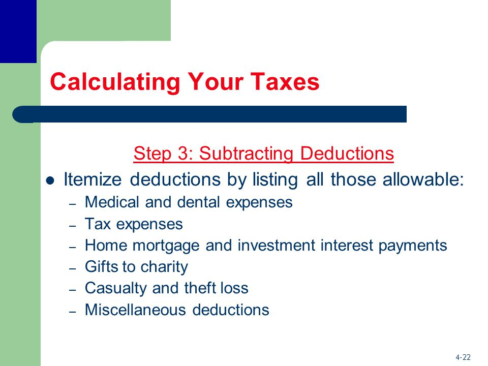 4-22 Calculating Your Taxes Step 3: Subtracting Deductions Itemize deductions by listing all those allowable: – Medical and dental expenses – Tax expenses – Home mortgage and investment interest payments – Gifts to charity – Casualty and theft loss – Miscellaneous deductions