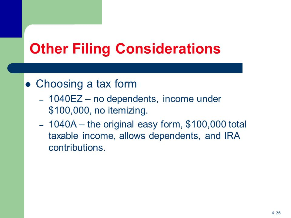 4-26 Other Filing Considerations Choosing a tax form – 1040EZ – no dependents, income under $100,000, no itemizing.