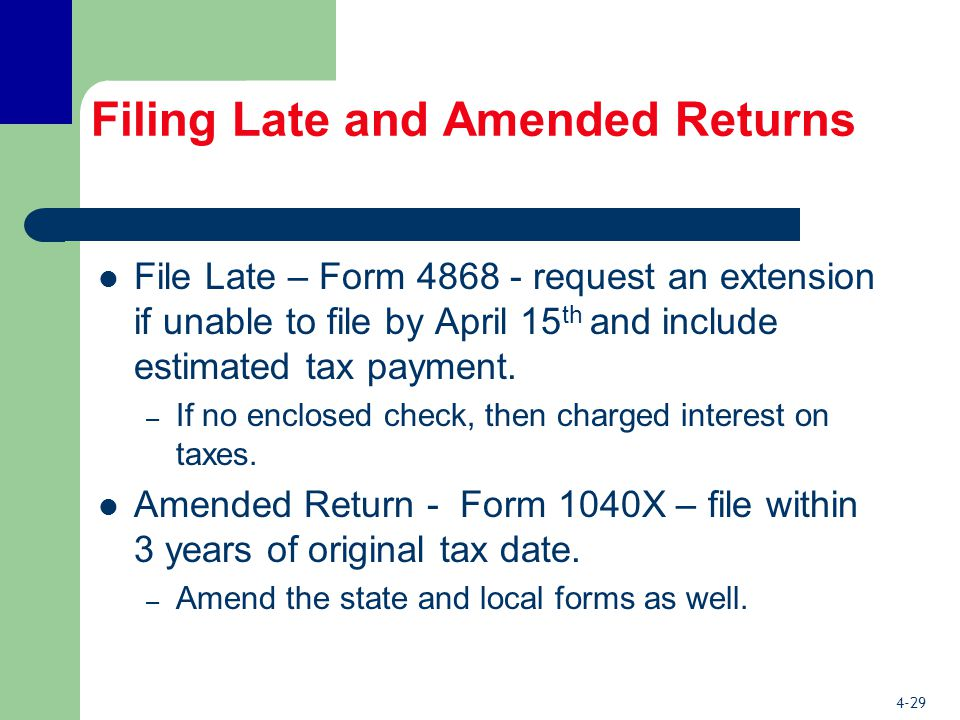 4-29 Filing Late and Amended Returns File Late – Form 4868 - request an extension if unable to file by April 15 th and include estimated tax payment.