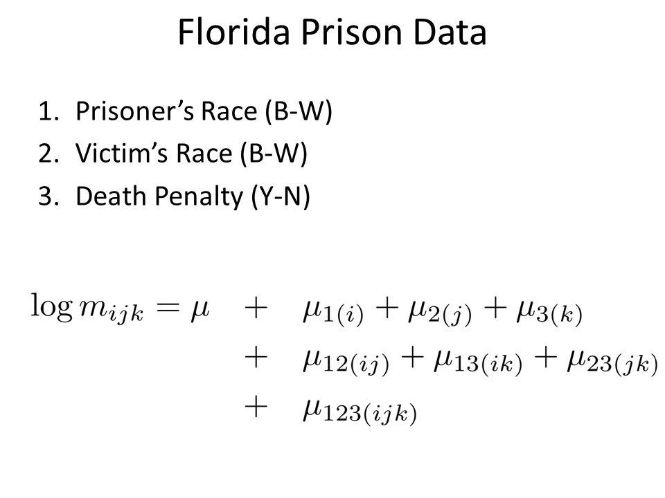Florida Prison Data 1.Prisoner's Race (B-W) 2.Victim's Race (B-W) 3.Death Penalty (Y-N)