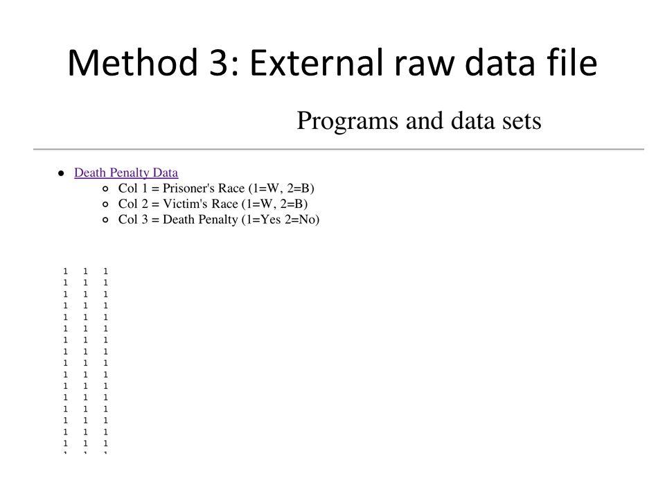 Method 3: External raw data file
