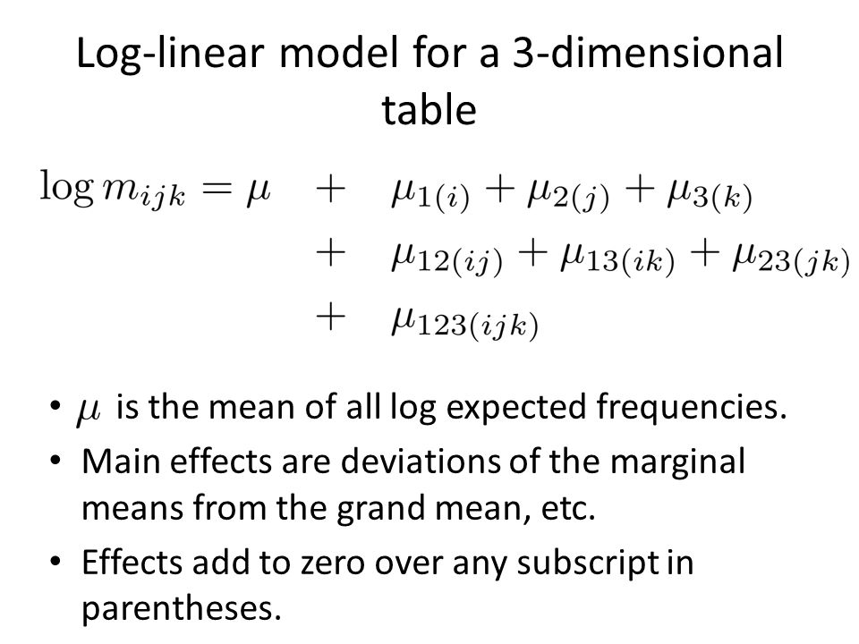 Log-linear model for a 3-dimensional table is the mean of all log expected frequencies. Main effects are deviations of the marginal means from the gra