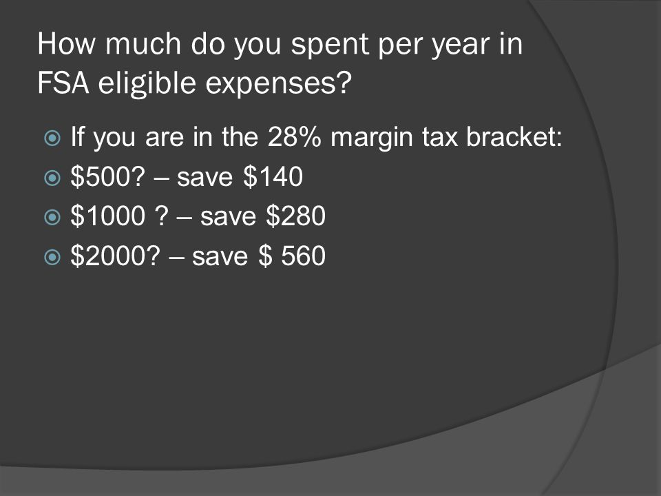 How much do you spent per year in FSA eligible expenses.