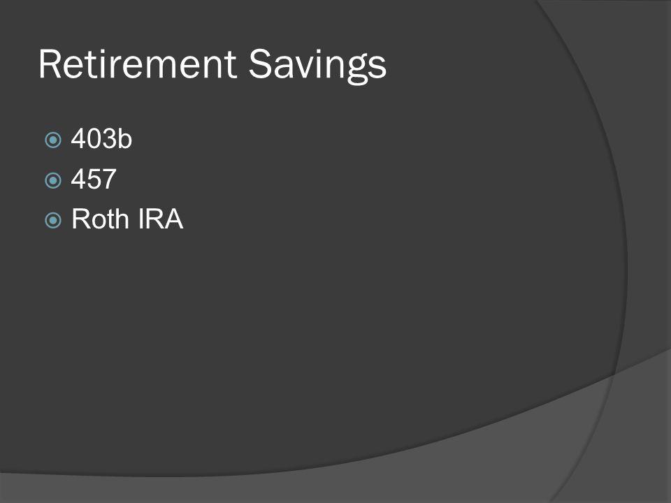 Retirement Savings  403b  457  Roth IRA