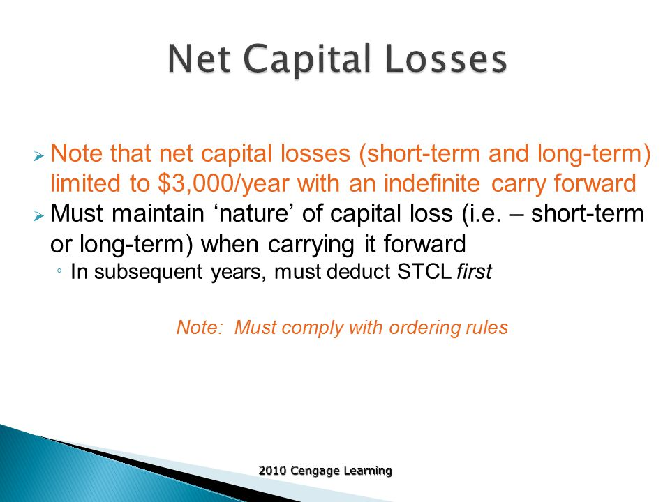 2010 Cengage Learning  Note that net capital losses (short-term and long-term) limited to $3,000/year with an indefinite carry forward  Must maintain 'nature' of capital loss (i.e.