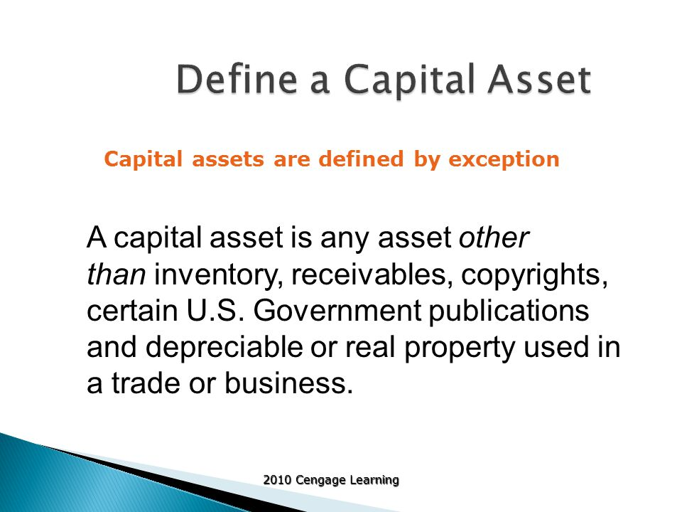 2010 Cengage Learning Personal use property Purchased Intangible Assets Investment Property Examples include: