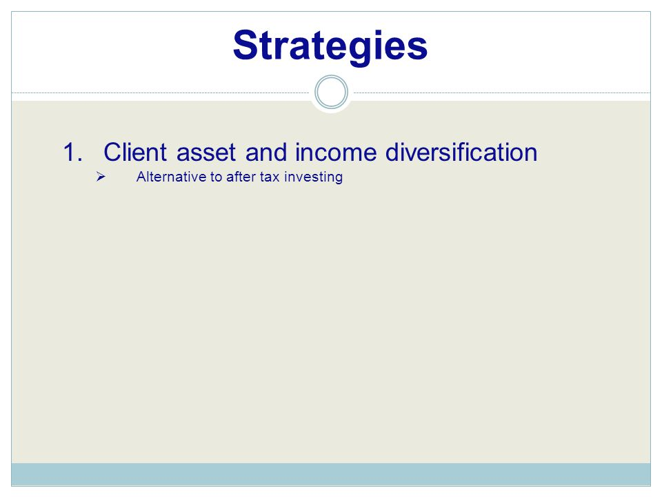Strategies 1.Client asset and income diversification  Alternative to after tax investing