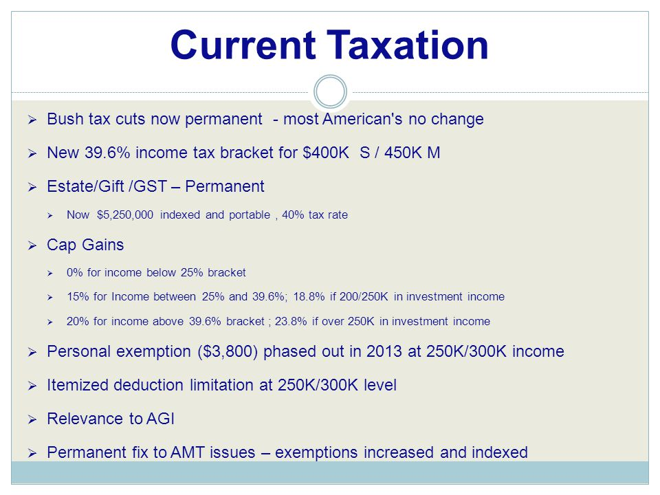  Bush tax cuts now permanent - most American s no change  New 39.6% income tax bracket for $400K S / 450K M  Estate/Gift /GST – Permanent  Now $5,250,000 indexed and portable, 40% tax rate  Cap Gains  0% for income below 25% bracket  15% for Income between 25% and 39.6%; 18.8% if 200/250K in investment income  20% for income above 39.6% bracket ; 23.8% if over 250K in investment income  Personal exemption ($3,800) phased out in 2013 at 250K/300K income  Itemized deduction limitation at 250K/300K level  Relevance to AGI  Permanent fix to AMT issues – exemptions increased and indexed Current Taxation