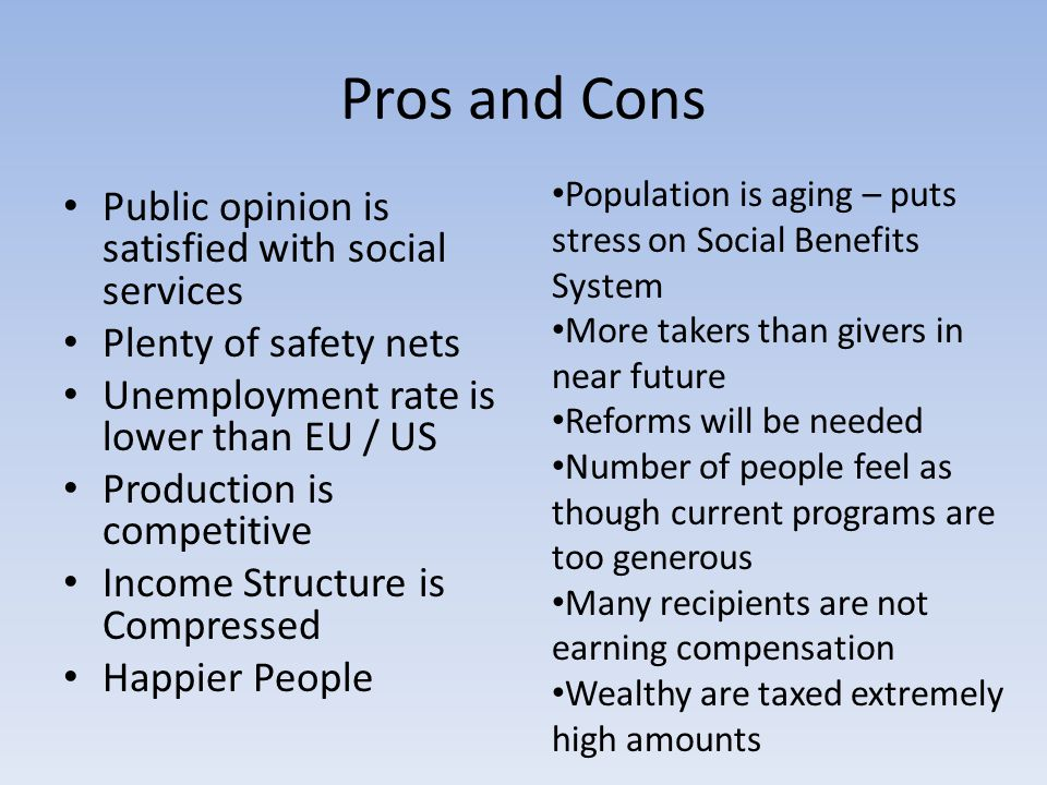 Pros and Cons Public opinion is satisfied with social services Plenty of safety nets Unemployment rate is lower than EU / US Production is competitive Income Structure is Compressed Happier People Population is aging – puts stress on Social Benefits System More takers than givers in near future Reforms will be needed Number of people feel as though current programs are too generous Many recipients are not earning compensation Wealthy are taxed extremely high amounts