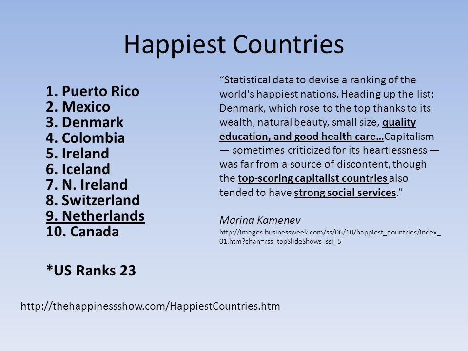Happiest Countries 1. Puerto Rico 2. Mexico 3. Denmark 4.