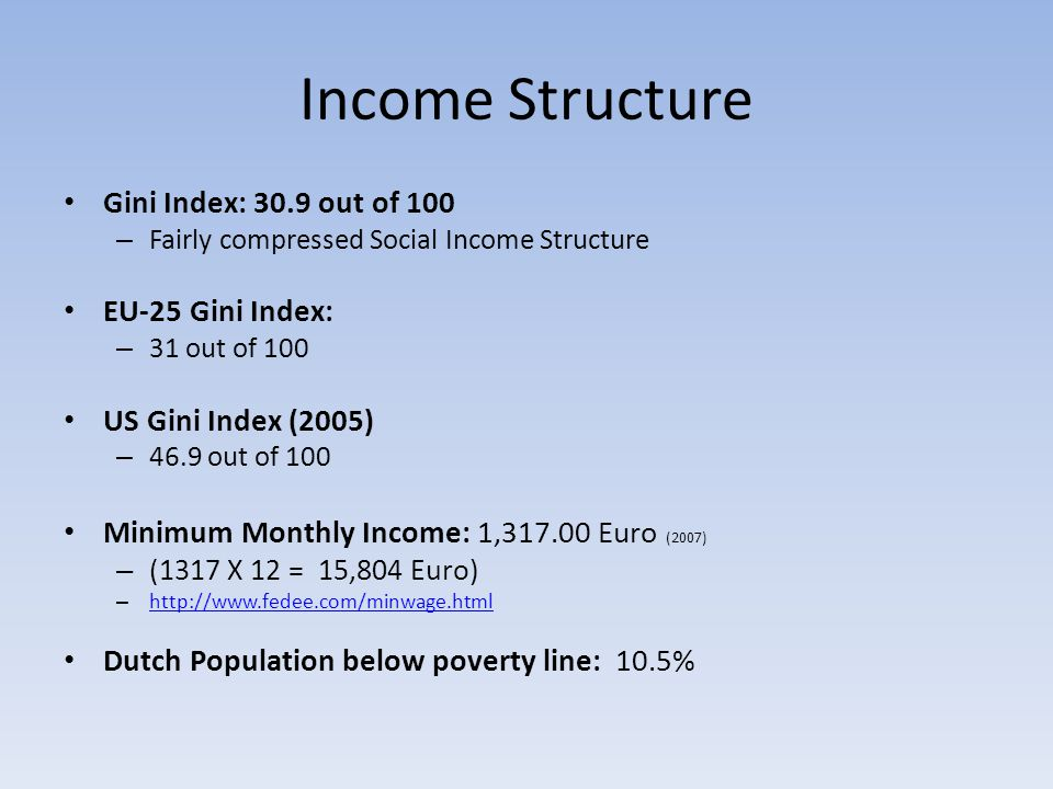 Income Structure Gini Index: 30.9 out of 100 – Fairly compressed Social Income Structure EU-25 Gini Index: – 31 out of 100 US Gini Index (2005) – 46.9 out of 100 Minimum Monthly Income: 1,317.00 Euro (2007) – (1317 X 12 = 15,804 Euro) – http://www.fedee.com/minwage.html http://www.fedee.com/minwage.html Dutch Population below poverty line: 10.5%