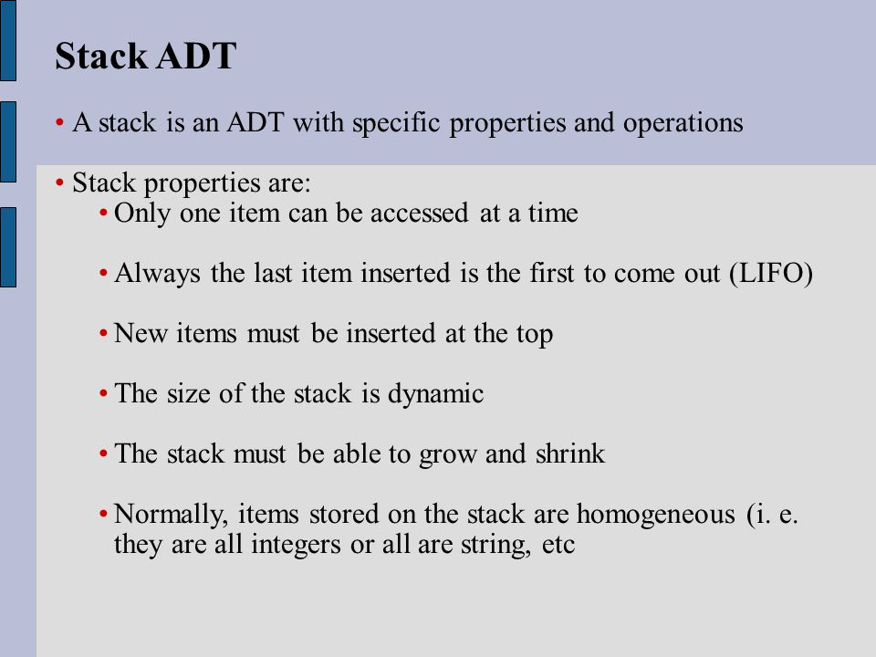 Stack Operations Stack operations are: Push: Puts a new item on the top of the stack.