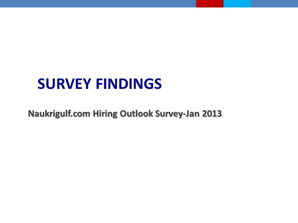 SURVEY FINDINGS Naukrigulf.com Hiring Outlook Survey-Jan 2013