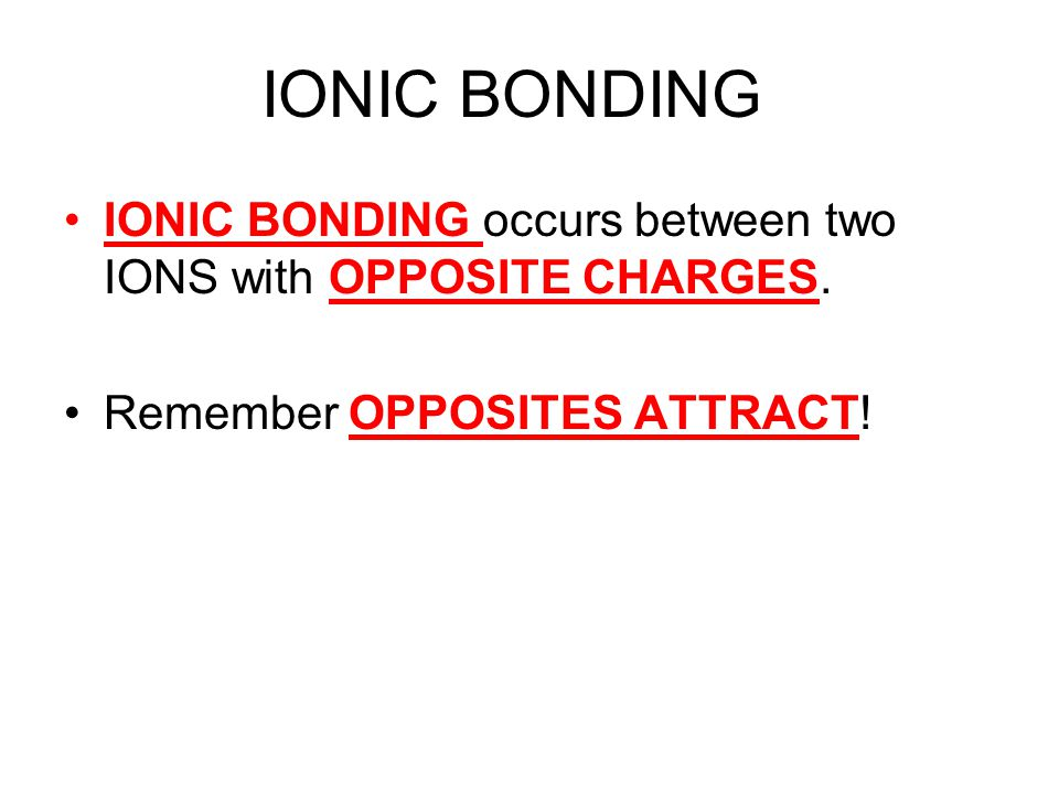 IONIC BONDING IONIC BONDING occurs between two IONS with OPPOSITE CHARGES. Remember OPPOSITES ATTRACT!