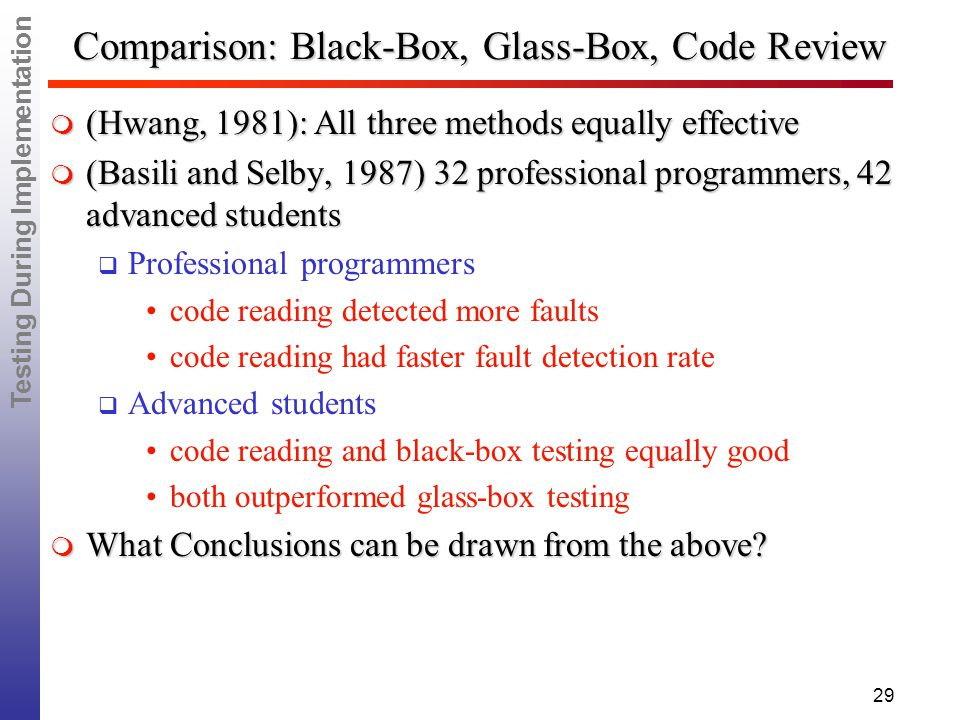 Testing During Implementation 29 Comparison: Black-Box, Glass-Box, Code Review  (Hwang, 1981): All three methods equally effective  (Basili and Selby, 1987)32 professional programmers, 42 advanced students  Professional programmers code reading detected more faults code reading had faster fault detection rate  Advanced students code reading and black-box testing equally good both outperformed glass-box testing  What Conclusions can be drawn from the above?