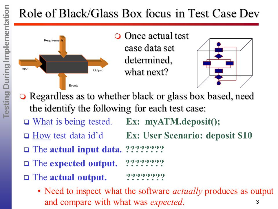 Testing During Implementation 3 Role of Black/Glass Box focus in Test Case Dev  Regardless as to whether black or glass box based, need the identify the following for each test case:  Once actual test case data set determined, what next.